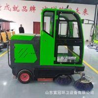 富冠驾驶室小型电动三轮扫地车电动扫路车新能源全封闭式清扫车